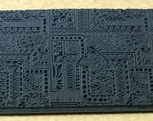 BOTANY BORDERS Embossed Rubber Texture Tile Mat Stamp for Clay inks  Paint Soap   TTL752
