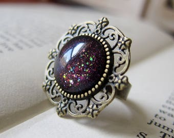Prism Collection: Seer's Stone - Color-shifting Iridescent Glitter Adjustable Ring