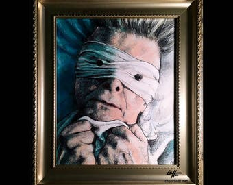 Lazarus - Original Drawing - David Bowie Blackstar Aladdin Sane Space Odditty Glam Rock Gothic British Ziggy Stardust Guitar New Wave Pop