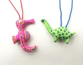 A super special custom order for a super special lady: seahorse and Dino rear view mirror ornaments