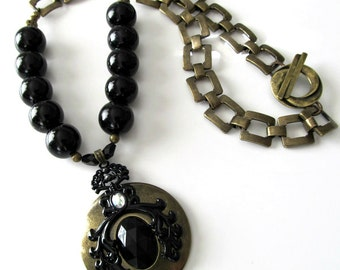 ON SALE, Large Black Pearl Necklace, Antique Brass Pendant, Large Square Buckle Chain, Chunky, Bold Beaded Necklace, Beaded Jewelry