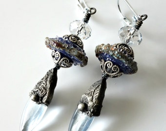 Decorative Tinwork Earrings, Lampwork Earrings, Light Blue, Swarovski Crystals, Silver Earrings, Gunmetal, Beaded Jewelry, Beaded Earrings