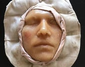 Wax Face from Museum Mounted on White Fabric Circle - Vintage Medical Oddity Curiosity Death Mask - #5