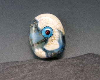 Handmade Lampwork Organic Focal Bead by GlassBeadArt  ... SRA F12 ... 27x22mm ivory and turquoise shard murrini flat freeformed focal