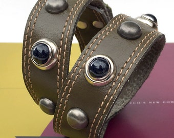 Army Green Leather Dog Collar with Gunmetal Studs and Black Pearls, Size M, to fit a 14-17in Neck, Medium Dog, EcoFriendly, OOAK