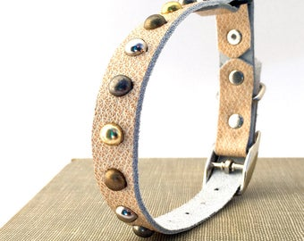 Cream Leather Cat Collar with Mixed Metal Studs, Size to fit a 8-10 Neck, Eco-Friendly, Reclaimed Leather, Studded Cat Collar, OOAK