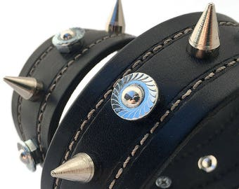 Black Leather Dog Collar with Spikes and Industrial Studs, Size XL to fit a 21-24 Neck, Recycled Belt Collar, Seattle Handmade by Greenbelts