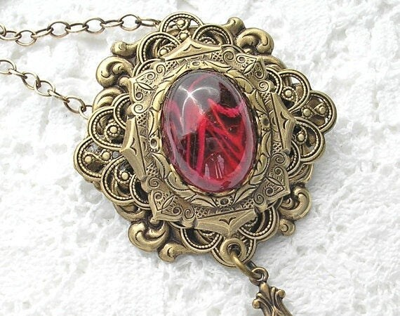 Ruby Red Glass and Brass Brooch Pendant with Chain