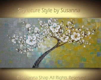 ORIGINAL Large Abstract Contemporary White Tree Cherry Blossom Painting Palette Knife Texture Grey Mustard Yellow by Susanna 48x24