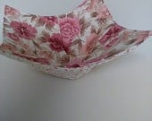 Microwave Bowl Cozy Pink Beige Salmon Floral Country Rustic Kitchen Handmade Heating Trivet Pot Holder Hot Pad Quilted Cloth Bowl Cereal