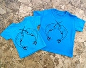 Shirts Matching, Daddy and Me, T Shirt Set, Tee Dad, Graphic Tee, Father Daughter Tees, Father Son Tees, Narwhal Shirt