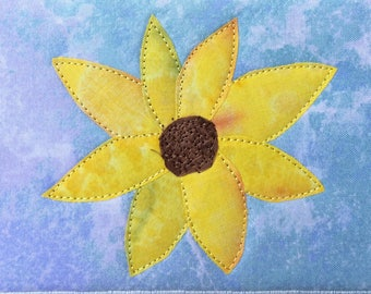 Yellow Daisy - Yellow Sunflower - Fabric Postcard - Small Quilt Art - Greeting Card - Fiber Art - Flower Lover - Home Decor  - Gift for Her
