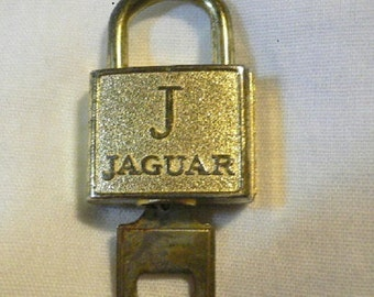 Tiny Jaguar Working Pad Lock with Key, Gold Color  Altered Art, Assemblage, Mixed Media
