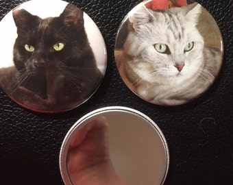 Cat mirrors 2 1/4 inch pocket mirror set of 2 FREE SHIPPING cat lovers cats kittens cat faces stocking stuffer