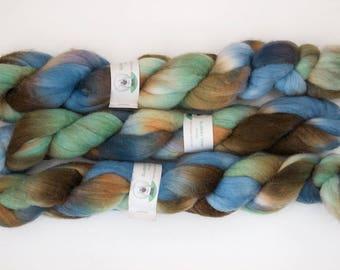 Handpainted Organic Polwarth Wool Roving in Galaxy by Blarney Yarn