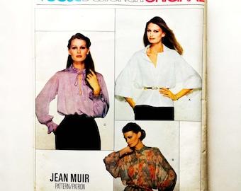 Vintage 70s Jean Muir Vogue Designer Original Pattern Blouse Uncut Size 12 Vogue 2109 34 Bust