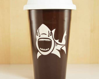 SALE - Shark Travel Mug - lidded coffee cup