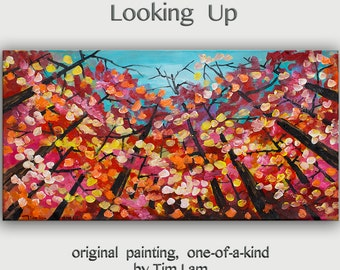 "Multi--colors Landscape Original Painting.Abstract Tree Painting... Looking Up forest skyline ---- tim Lam Size: 48""x 24"" (120 cm x 60 cm)"