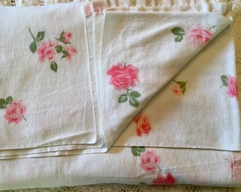 Cotton Rose Full or Twin Light Blanket - Pink Roses on White - Cottage Chic - Country Living