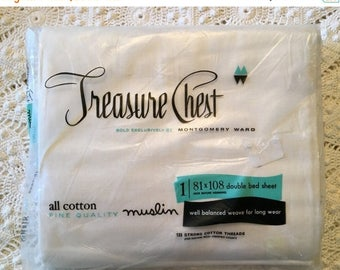 BIG SALE - All Cotton Muslin Full Flat Sheet - Treasure Chest - Solid White - Fine Quality Muslin - Unused -NOS Nip - New in Package - Twin
