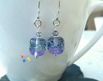 Lavender Paradise Earrings, Sterling Silver Earrings, Lampwork Jewellery, Gift for Her, Heart Earrings, Crystal Earrings, Purple Earrings