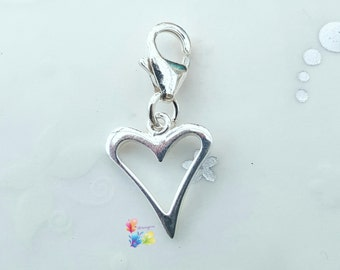 Clip on Charm, Heart Charm, Sterling Silver, gift for her, Valentines gift, love token, love heart
