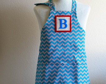 Kids Apron / Toddler Ages 2-6 Personalized Letter  - Blue, Red, White Chevron Reversible Apron with Wave Pockets