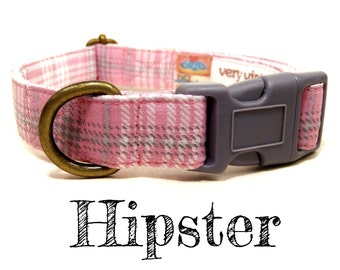 "Light Pink Gray White Plaid Dog Collar - Preppy Girl Dog Collar - Organic Cotton - Antique Brass Hardware - ""Hipster"""