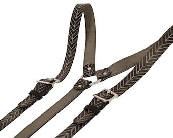 Chevron Print Leather Suspenders