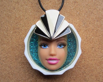Upcycled Barbie Doll Face Pendant - Deco