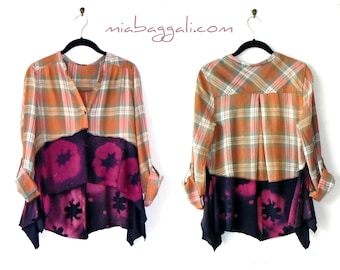 Size M-L ~ Distressed Plaid and Bleach Art Cropped Top / Tunic / Blouse ~ upcycled boho chic hippie wearable art clothinM