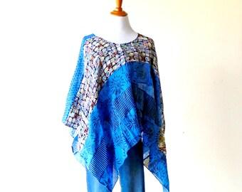 One Size-Cerulean Blue Patchwork Poncho Top ~ gypsy tunic kimono shawl boho chic cape upcycled handmade clothing jacket wearable art