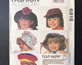 McCall's 6818 Hat Pattern for Children - Flap Happy Hat, Beret, Sunbonnet and more