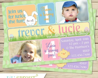 EASTER BIRTHDAY INVITATION - Joint Birthday - Sibling Birthday Invitation - Spring Themed Invite with Pastels Chicks and Bunnies - Printable