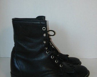 30% Off SALE Roper Boots, Black Laredo boots, Leather Boots shoes size 8 M  womens