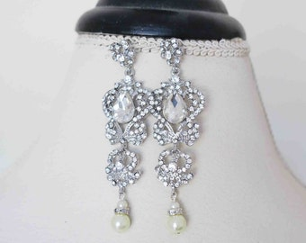 Bridal Earrings Vintage, Chandelier Wedding Earrings, Bridal Crystal Earrings Art Deco Bridal Statement Earrings Wedding Jewelry Long Sukran