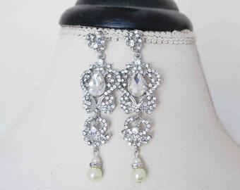 Bridal Earrings Vintage, Chandelier Wedding Earrings, Bridal Crystal Earrings Art Deco Bridal Statement Earrings Wedding Jewelry Long Sukran