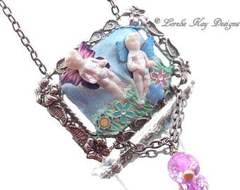 Butterflies Frozen Charlotte Necklace Tiny Flying Frozen Charlotte Butterfly Sculpted Pendant Lorelie Kay Original