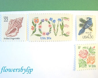 Beach Wedding Postage, Love Flowers - Roses - Seashell - Bird Stamps, Mail 20 Summer Wedding Invitations 2 oz, 70 cents stamps floral unused