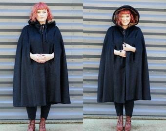 black cape coat, 1960s cape, vintage cape, size large coat, black coat, USA made, black wool coat, black winter coat, long black cape