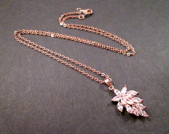 Cubic Zirconia Necklace, Flower and Leaf Necklace, Rose Gold Chain Necklace, FREE Shipping U.S.
