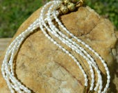 RESERVED Stoneware Clay Bead and Pearl Necklace