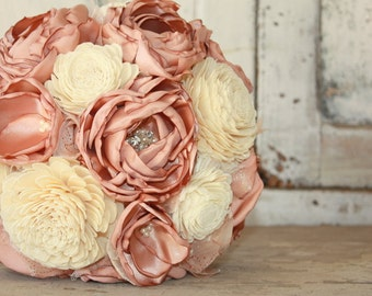 Rose gold wedding bouquet, Rose gold brides bouquet, Fabric flower bouquet with rose gold blooms, sola flower bridal bouquet
