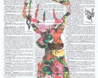 Deer,roses.Collage.Fantasy.Antique Book Pages Print,handmade gift.home deco,vintage,retro.french.art.birthday.nursery.art.pink.stag.boho.eco