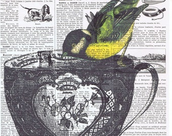 Bird,Tea Cup.birthday,collage.Gift. Antique Book Page Print.Vintage.Yellow.home decor,altered,handmade.eco.avian.feather.french.paris.sweet