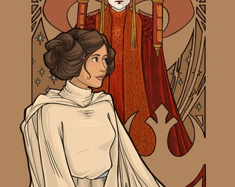 Patreon subscribers only: Amidala and Leia Nouveau 2 Postcard