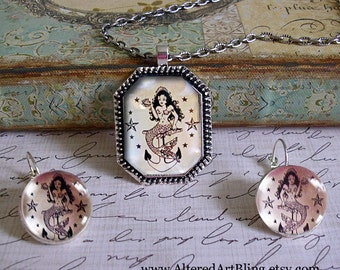 Mermaid pendant and earring set...vintage mermaids,gift boxed,  Ready To Ship TODAY,  mermaid jewelry, mermaid pendants, sailor jerry