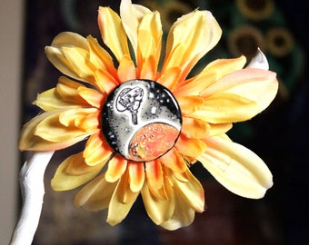 New Horizons Spacecraft and Planet Flower Hair Clip in Orange