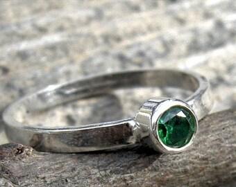 20% OFF Today Emerald Green Ring ... May birthstone ring 4mm emerald green gemstone sterling silver stacking ring gemstone ring