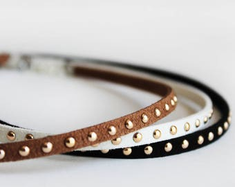 Single Band Leather Choker with Gold Studs / Suede Leather Studded Cord Necklace / White, Black or Brown Leather Choker Necklaces